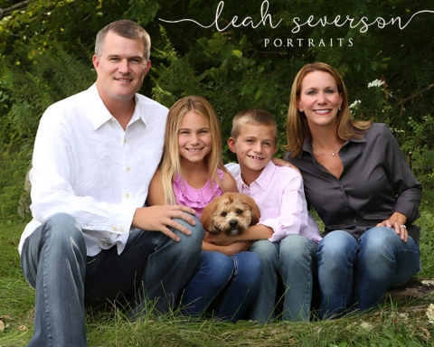 family portrait of jeff and nicole with children and dog