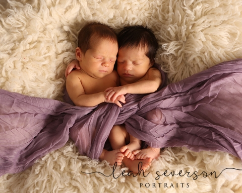 newborns liana and chiara snuggle on white fur