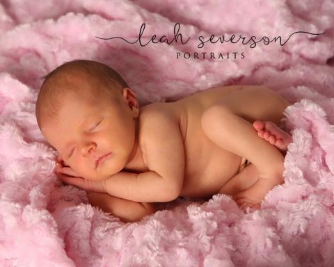newborn photography baby on pink blanket