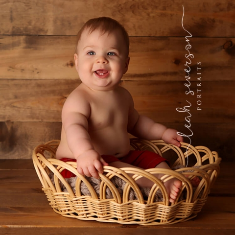 baby photography carmel in boy in basket