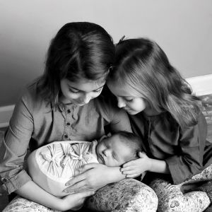 newborn with siblings photo