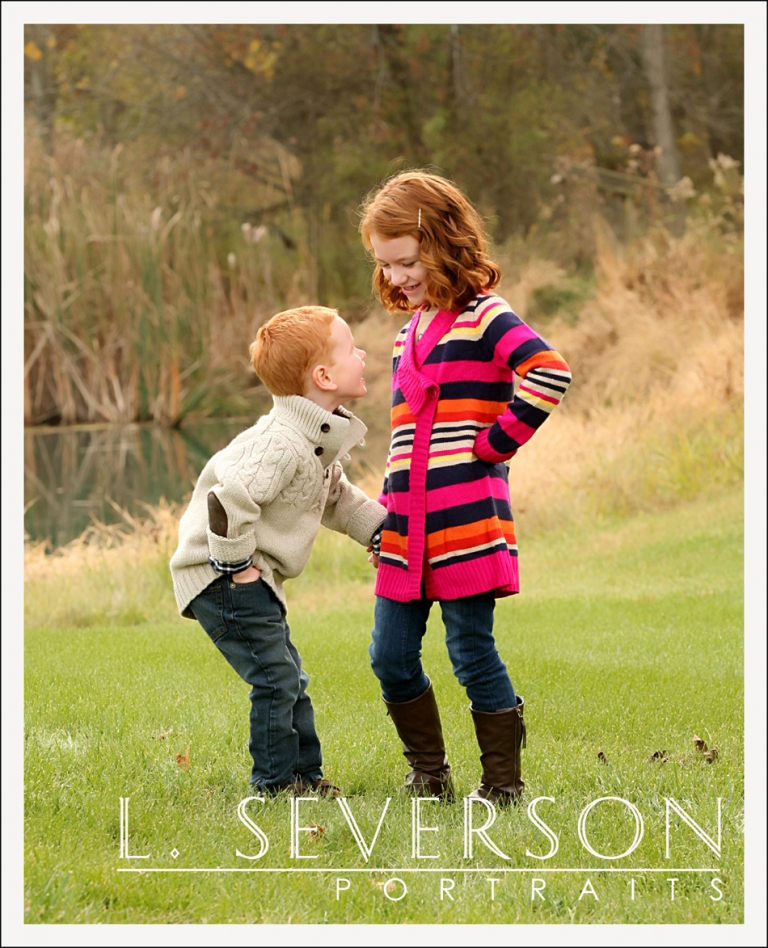 Outdoor family portraits of Ainsley and her brother