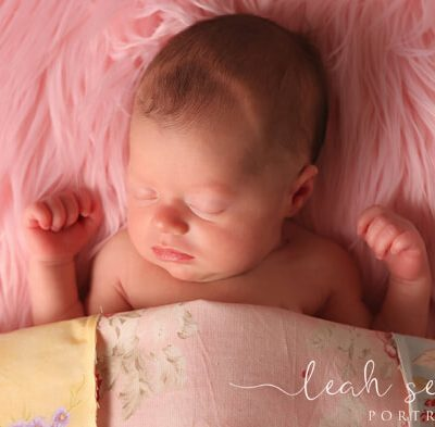baby sleeps during newborn portrait session in indianapolis