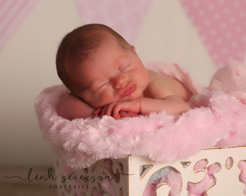 baby sleeps in pink fur during portrait session in carmel, indiana