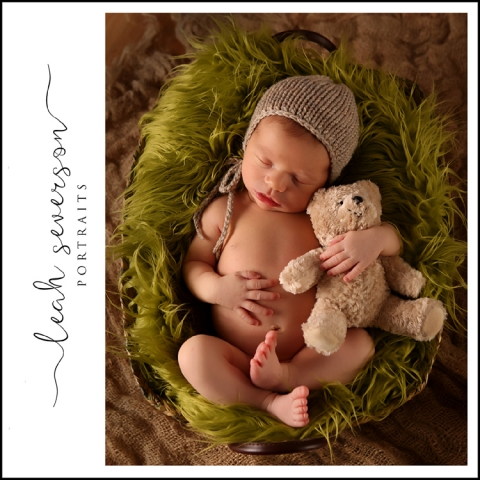 Finn sleeps peacefully during his newborn portrait session in Indianapolis