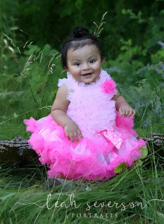 baby kayla wearing pink tutu in portrait session