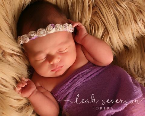 indianapolis baby photography halle wearing purple headband