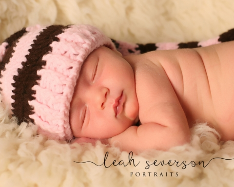 carmel newborn photographer halle sleeping with pink hat