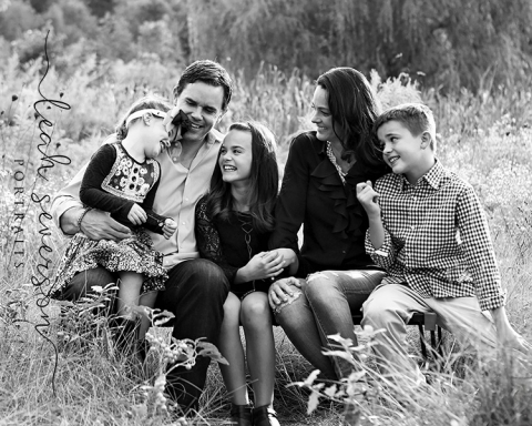 family giggling during outdoor fall portrait session