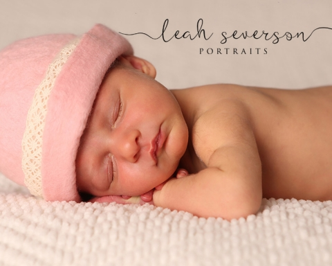 newborn photography with pink hat