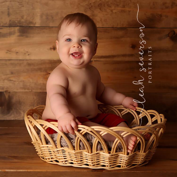 baby photography carmel in boy in basket
