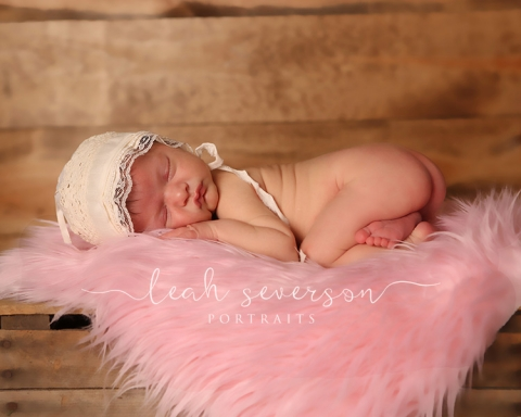 newborn baby photograph on pink