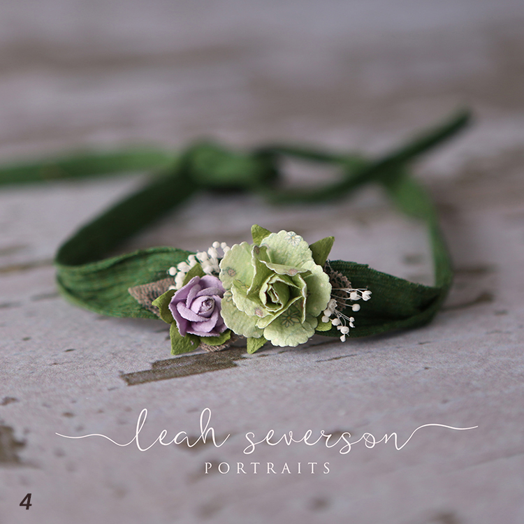 newborn photography prop green tieback floral indianapolis