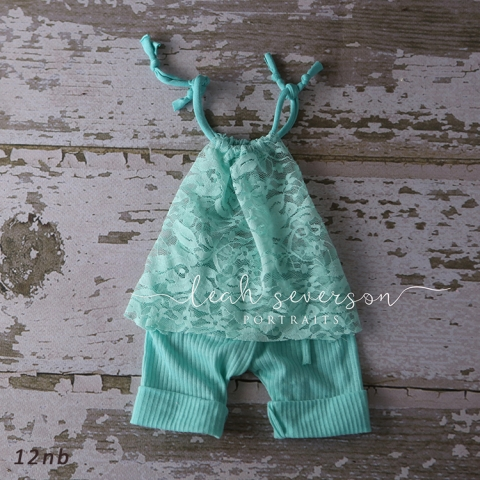 baby photography prop newborn carmel, in mint green