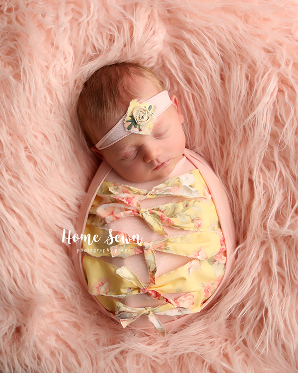 newborn photography prop tuckwrap yellow pink indianapolis