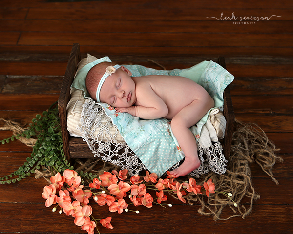 newborn baby indianapolis photograph on tiny bed