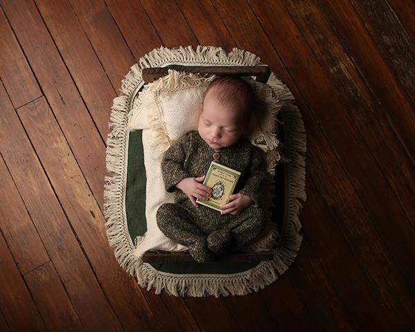 newborn baby photograph tiny bed carmel indiana